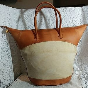 GUCCI Canvas & Leather Tote Bag Made in Italy
